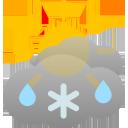 bewölkt, einige Regen- oder Schneeschauer